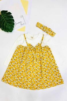 Momsbrand - Çiçekli Bantlı Elbise- Sarı