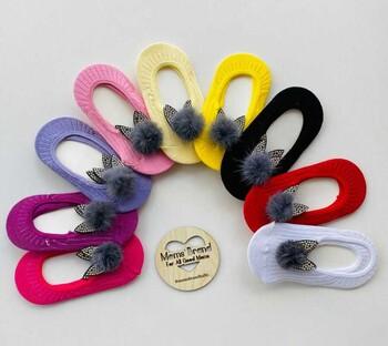 Momsbrand - Kulaklı Ponpon Babet Çorap