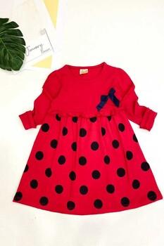 Momsbrand - Maxi Puanlı Elbise-Kırmızı