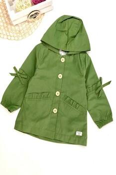 Yeşil Kız Çocuk Trençkot